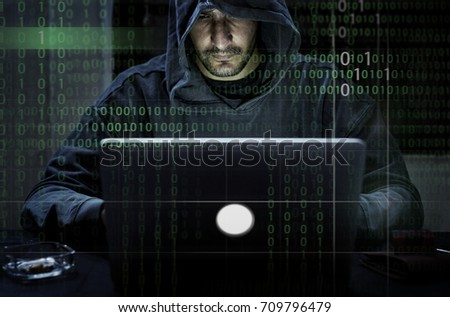 Hacker hacking a coding cyberspace information
