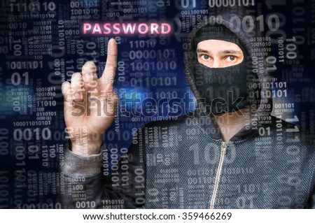 Hacker in anonymous mask is searching for password in binary code - stock photo