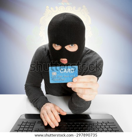 Hacker in black mask with USA state flag - Vermont