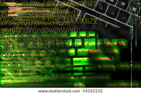 Hacker in cyberspace. Your system under attack