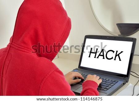 Hacker Man - stock photo