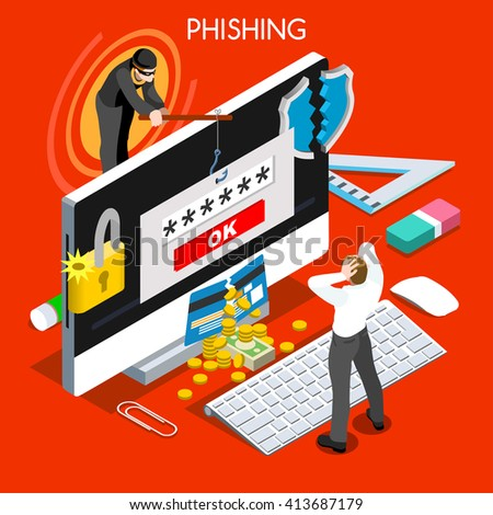 Hacker phishing infographic 3D flat isometric people design concept. Spam phishing attack risk threats for computer systems illustration - stock photo
