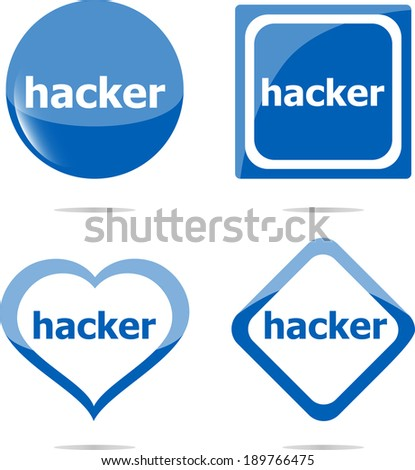 hacker stickers set isolated on white, icon button - stock photo
