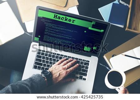 Hacker Technology Internet Content Web Concept - stock photo