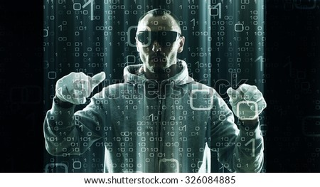 Hacker typing on virtual computer