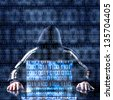 Hacker waiting for something with binary code in background - stock photo