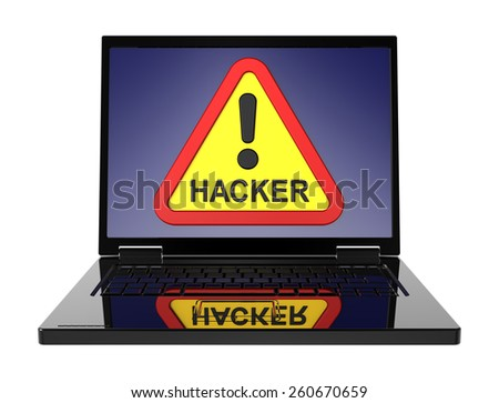 Hacker warning sign on laptop screen. Computer generated 3D photo rendering. - stock photo
