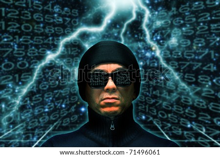 hacker with knit hat and dark glasses reflecting code numbers - stock photo