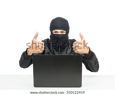 Hacker with laptop Hand finger good isolate on white background - stock photo
