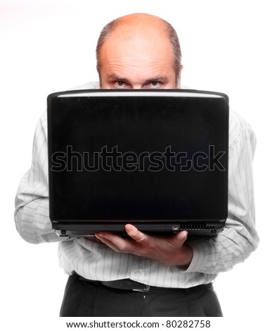 Hacker with laptop. Picture with space for your text. - stock photo
