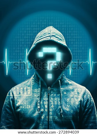 Hacker with question mark against abstract background - stock photo