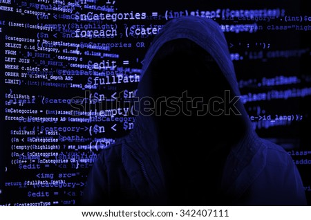 Hacker without face symbolizing anonymity of cyberspace surrounded by source code - stock photo