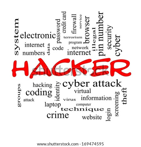 Hacker Word Cloud Concept in red caps with great terms such as firewall, cyber, attack, crime and more. - stock photo