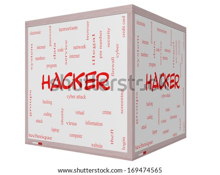 Hacker Word Cloud Concept on a 3D Cube Whiteboard with great terms such as firewall, cyber, attack, crime and more. - stock photo