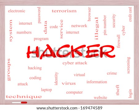 Hacker Word Cloud Concept on a Whiteboard with great terms such as firewall, cyber, attack, crime and more. - stock photo
