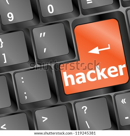 hacker word on keyboard, attack, internet terrorism concept, raster - stock photo