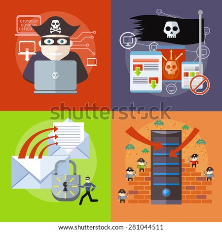 Hackers attaks activity. Hacker activity viruses hacking and e-mail spam. Computer crime in flat design. Pirate attacking laptop computer as internet pirate. Homepage of pirate sites. Raster version - stock photo