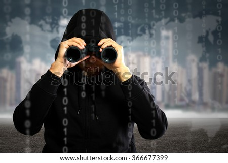 Hackers programmer look and search dat for hack information and data from user account. - stock photo