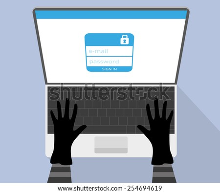 Hacking account of social networking. Upper view - stock photo