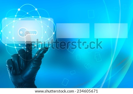 Hacking concept with hand wearing black glove touching virtual screen - stock photo