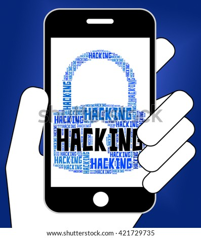 Hacking Lock Showing Malware Wordcloud And Spyware - stock photo