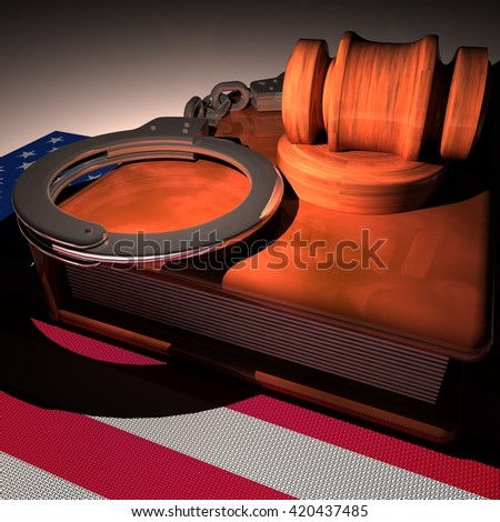 Hadcuffs, gavel and book over USA flag, 3d rendering