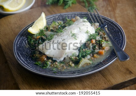 Haddock with dill, lentils and spinach