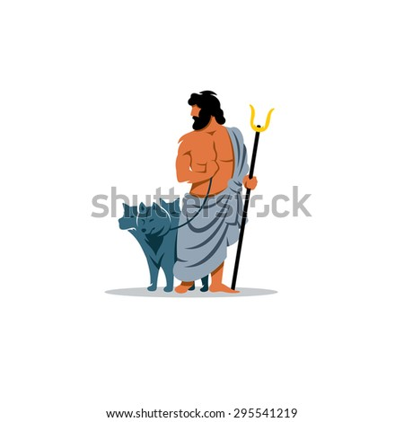 Hades sign. Mythological Greek God of the dead underworld.  Branding Identity Corporate logo design template Isolated on a white background - stock photo
