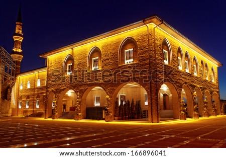Hadji Bayram Mosque at Ankara - night, Turkey - stock photo