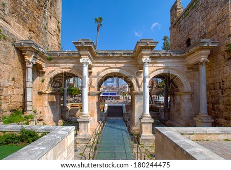Hadrian's Gate in old city of Antalya  - stock photo