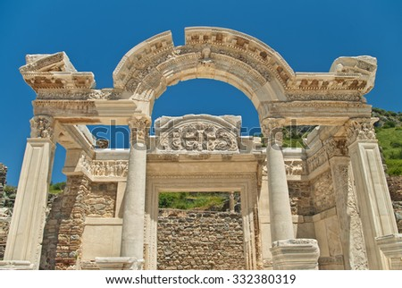 Hadrian's temple facade against clear blue sky in ancient city of Ephesus, Turkey - stock photo