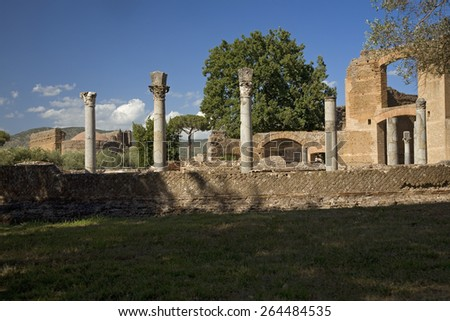 Hadrian's Villa, the Roman Emperor's 'Villa', erected in 118 and 138 AD on 150 acres. It was built by Rome's greatest builder, outside of Rome, Italy, Europe - stock photo