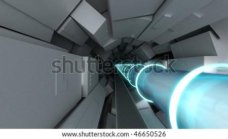 hadron collider cgi - stock photo