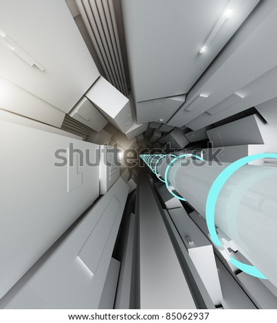 Hadron collider tunnel - stock photo