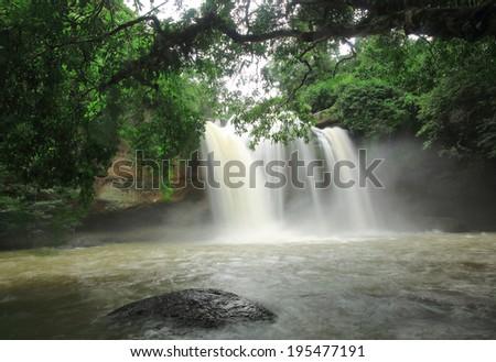 Haew Suwat Waterfall, Khaoyai National Park, Thailand, best landscape in Thailand - stock photo
