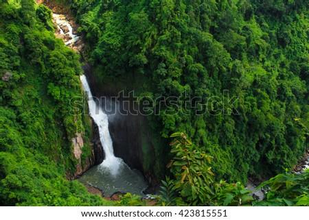 Haewnarok waterfall at Khaoyai nationalpark in Nakhonratchasima province, Thailand - stock photo