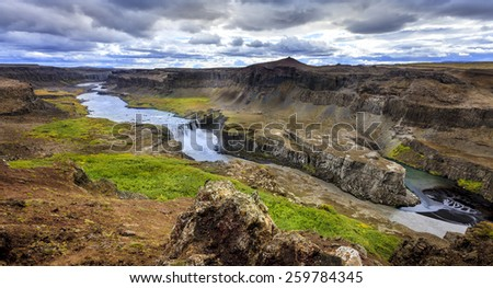 Hafragilsfoss - one of three large waterfalls on Jokulsa a Fjollum river in Iceland - stock photo