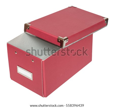 Haft-open red cardboard box with metal findings. Isolated on the white background, three-quarter view, no shadow.