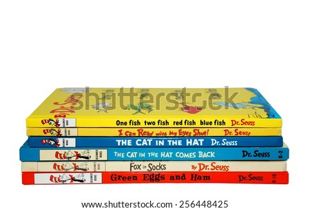 HAGERSTOWN, MD - FEBRUARY 26, 2015:  Image of several best selling books by Dr. Seuss.   Dr. Seuss is widely know for his children's books. - stock photo