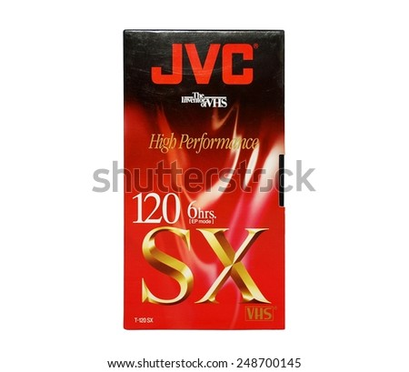 HAGERSTOWN, MD - JANUARY 31, 2015:  Image of old JVC VCR tape.  JVC developed the video home system. - stock photo