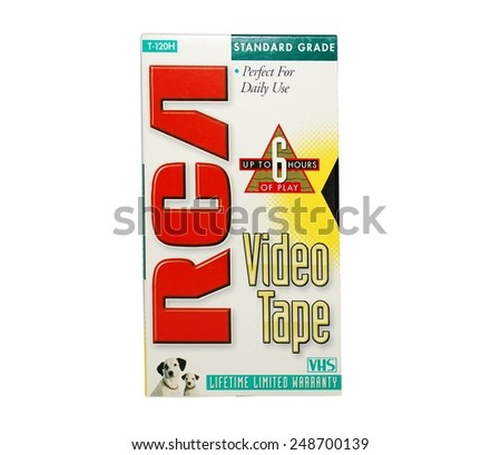 HAGERSTOWN, MD - JANUARY 31, 2015:  Image of old RCA VCR tape.  RCA is a brand that sold VHS tapes. - stock photo