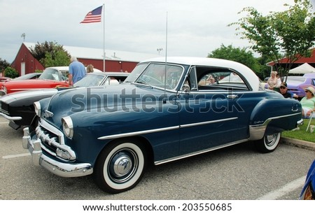 HAGERSTOWN, MD - JUNE 29, 2014: Image of a Chevy Deluxe, proceeds from the car show benefit the newspapers in education program.  - stock photo