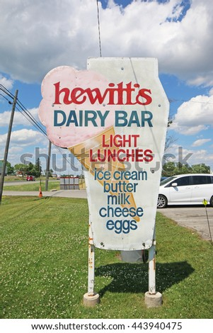 HAGERSVILLE, CANADA - JUNE 27, 2016: Advertising sign for an ice-cream and dairy diner, Hagersville, Ontario, Canada which is a family owned producer of quality dairy products