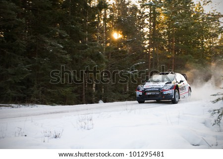 HAGFORS, SWEDEN - FEB 09: KETOMAA Jari in his Ford Fiesta WRC during the Shakedown stage in  Rally Sweden 2012 in Hagfors , Sweden on Feb 9, 2012