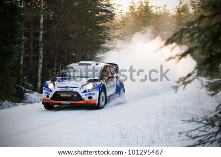 HAGFORS, SWEDEN - FEB 09: SOLOWOW Michal in his Ford Fiesta WRC during the Shakedown stage in  Rally Sweden 2012 in Hagfors , Sweden on Feb 9, 2012