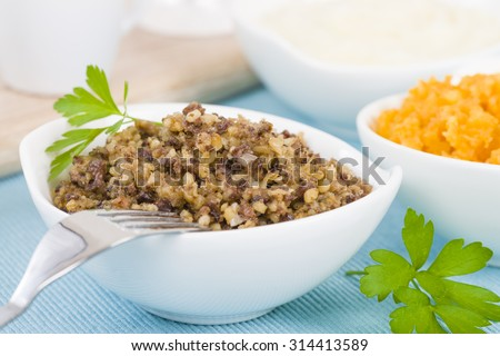 Haggis, Neeps & Tatties - Traditional Scottish meal commonly served at Burn's Night. Served with whisky sauce.