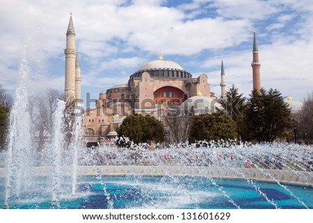 Haghia Sophia in Istanbul Turkey. One of the oldest and the most prominent landmarks in Turkey. - stock photo