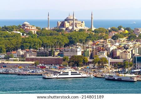 Hagia Irene and Hagia Sophia in Istanbul, Turkey - stock photo