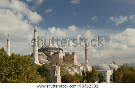 Hagia Sofia in Istanbul -  view from top. One of most famous mosque, also marked as one of Asian 7th wonders located in Istanbul, Turkey - stock photo