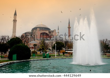 Hagia Sophia - A former Byzantine church and Ottoman mosque in Istanbul, Turkey.  It is now a museum.